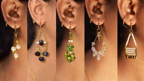easy pearl crystal earring design diy  min craft