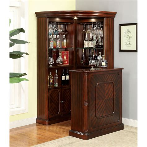 Home Bar Cabinet by Furniture Of America Wolfgang Corner Curio Bar Cabinet