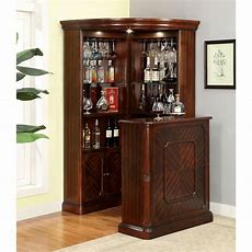 Furniture Of America Wolfgang Corner Curio Bar Cabinet