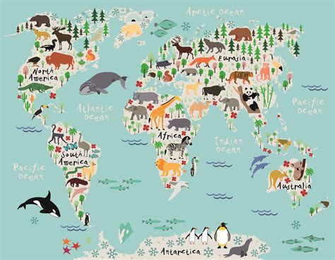 Animal Map Of The World Wallpaper - animal map of the world wallpaper children childrens