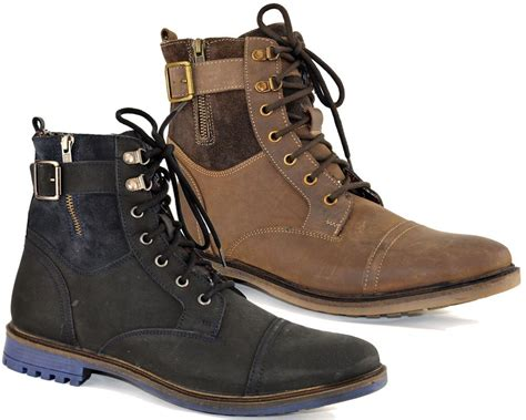 Ankle Boots : Mens Leather Military Biker Style Lace Up Padded Zip Ankle