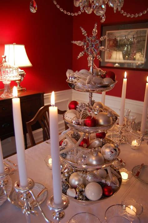 cheap christmas table decorations silver tiered centerpiece for christmas