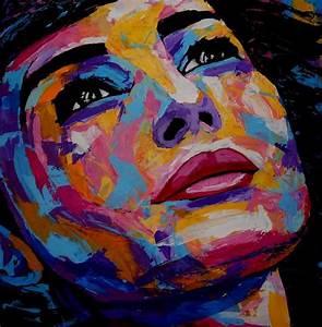 Peinture Visage Femme : visage femme acrylique sur toile 60x60 cm technique couteau artiste peintre jy rendo ~ Melissatoandfro.com Idées de Décoration
