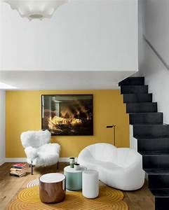 inspiration jaune moutarde le blog du sol With tapis jaune avec canapé assise peu profonde