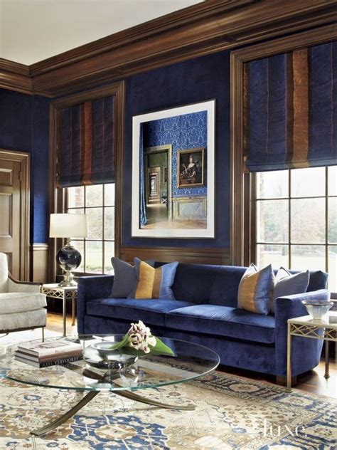 Living Room With Blue Decor by Royal Blue Living Room With Rich Brown And Accents