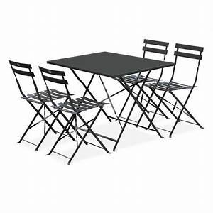 Salon De Jardin Bistrot : salon de jardin bistrot pliable emilia rectangulaire gris anthracite avec quatre chaises ~ Teatrodelosmanantiales.com Idées de Décoration
