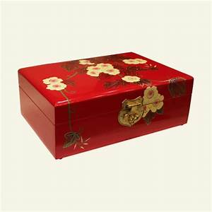 Chinese Red Wooden Jewelry Box With Gilt Flowers