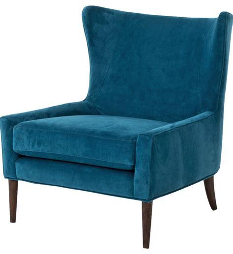 modern classic peacock blue velvet wing lounge chair