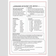Language Activities For Maths Worksheet  Free Esl Printable Worksheets Made By Teachers