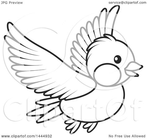 Clipart of a Cartoon Black and White Flying Bird - Royalty ...