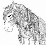 Coloring Horse Adult Pages Printable Zendoodle sketch template