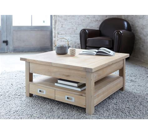 style house canapé table basse carree chene massif 3822