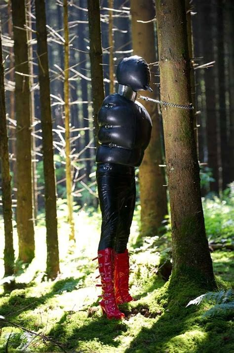 Inflatable Rubber Slave Outdoor Standing Tied Hooded