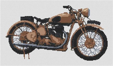 Bsa M20 Military Motorcycle Cross Stitch Kit And Chart