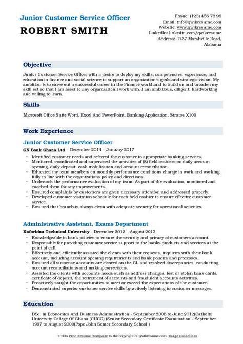 Customer Service Officer Resume by Customer Service Officer Resume Sles Qwikresume