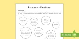 earth rotation  revolution worksheet activity sheet