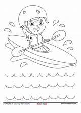 Coloring Kayaking Kid Fun Cartoon Boating Sheet Kidzezone Along sketch template