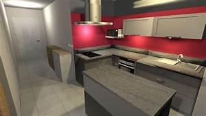 cuisine mur rouge et gris 3 couleur peinture pour une With peinture mur rouge et gris