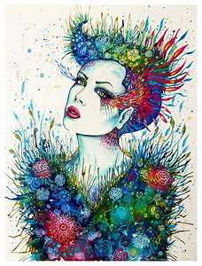 A feminine, sensual painting of a woman in nature by