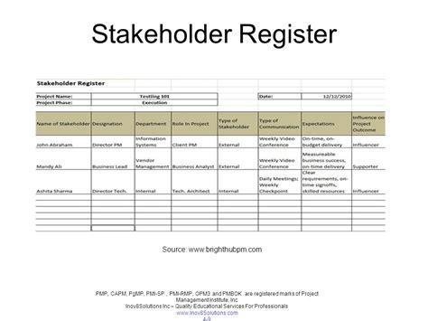 stakeholder register template chapter 14 stakeholder management ppt