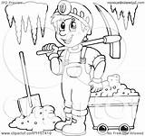 Miner Cave Clipart Coloring Pages Mining Happy Outlined Illustration Vector Royalty Visekart Printable Background Regarding Notes Getcolorings sketch template