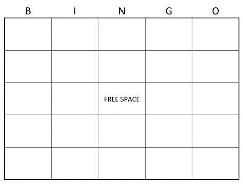 Bingo Card Template Blank Bingo Cards Blank Bingo Card Template