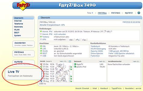 fernsehen im fritzbox heimnetz  tv fritzbox