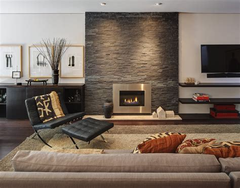 modern living room with fireplace rock your home with interior accents