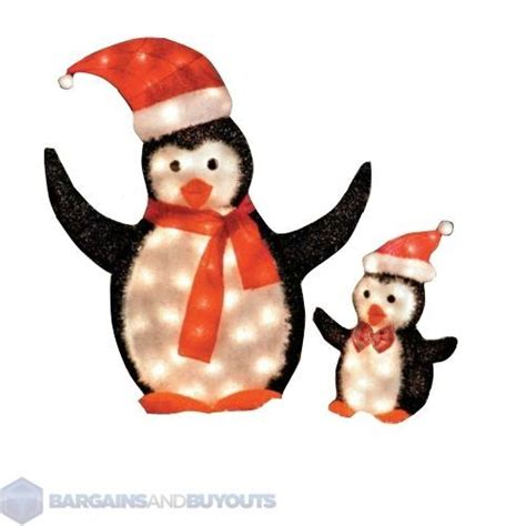 set of papa and junior lighted penguin set christmas d 233 cor
