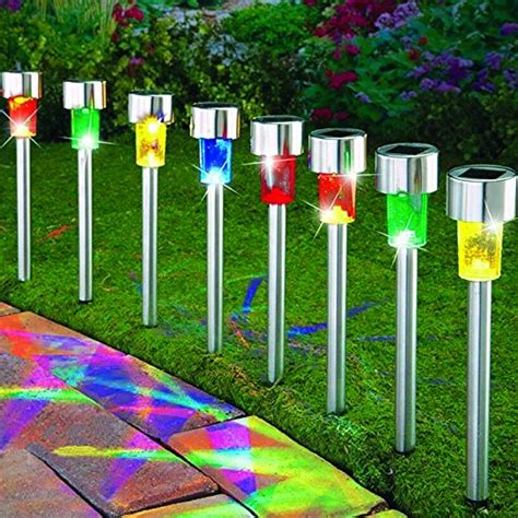 sogrand 8pcs pack solar lights outdoor 4color stainless