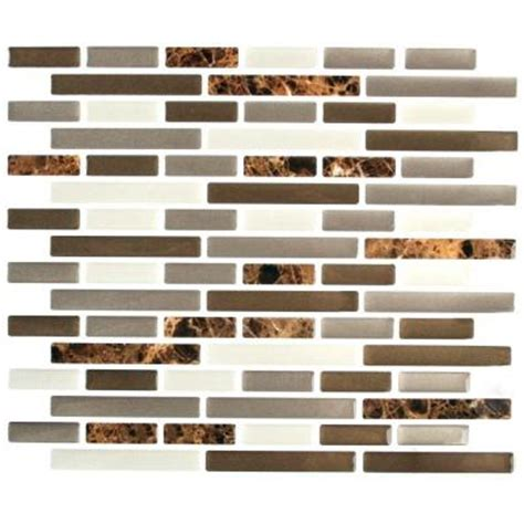Home Depot Wall Tile Adhesive by Stick It Tiles 11 In X 9 25 In Mixed Brown Marble Oblong