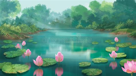 lotus pond stock illustration illustration  jungle