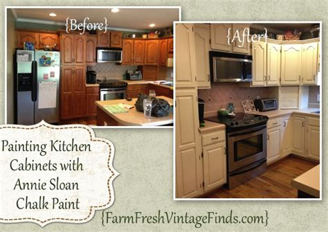 painting oak kitchen cabinets with chalk paint painted cabinet tutorials farm fresh vintage finds 171