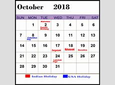 Printable October 2018 Calendar with Holidays with Notes