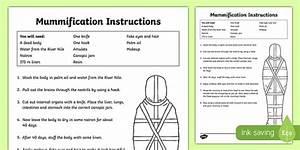 Mummification Instruction Worksheet For Ks2