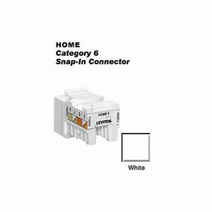 Leviton Quickport Cat 6 Snap-in T568a  B Wiring Connector  White-61hom-rw6