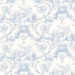 Blue Lamby Toile Wallpaper