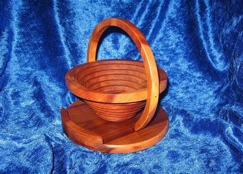 collapsible basket bowl   scroll  woodworking