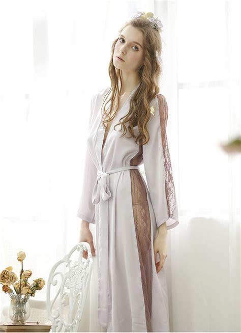 noble elegant imitation silk bathrobes women lace
