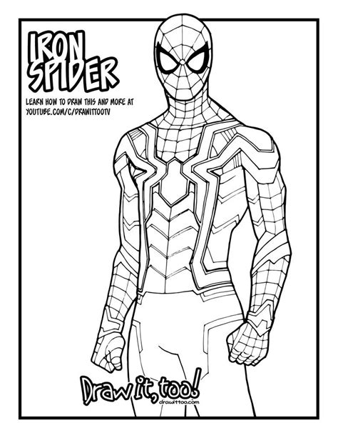 draw iron spider avengers infinity war drawing tutorial spiderman coloring