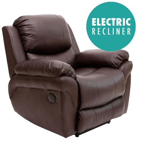 electric brown real leather auto recliner armchair