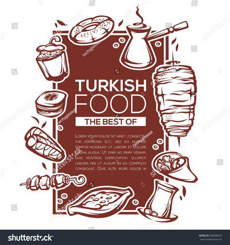 turkish food linear template design  stock vector