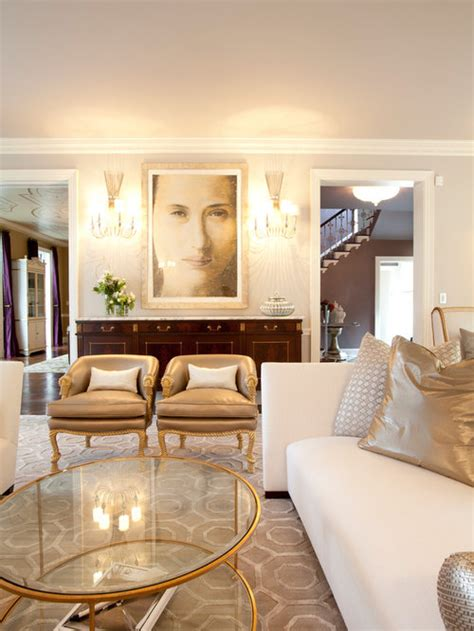 white living room  gold accents modern house