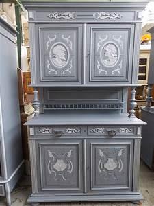 Relooking Meuble Ancien : ancien buffet deux corps en bois peint old antique buffet ~ Melissatoandfro.com Idées de Décoration
