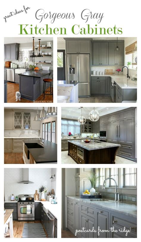 Painted Kitchen Cabinet Ideas - great ideas for gray kitchen cabinets postcards from the ridge