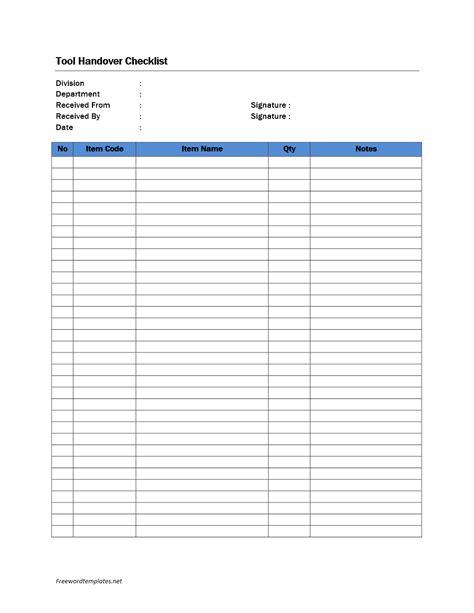 tool handover checklist