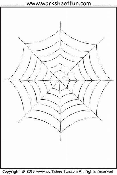 Tracing Coloring Halloween Worksheets Spider Web Printable