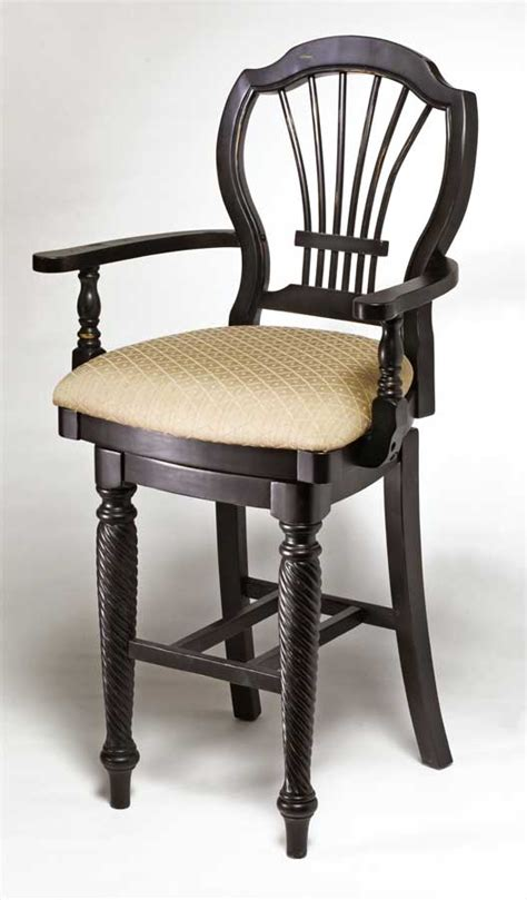 hillsdale wilshire swivel wood counter stool with arms