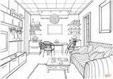 Coloring Living Pages Drawing Kitchen Interior Ball Luminous Zeichnen Books Printable Perspective Zimmer Sketch Point Modern Ausmalen Adult Sketches Drawings sketch template