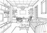 Coloring Living Kitchen Drawing Interior Printable Zeichnen Luminous Ball Modern Zimmer Perspective Adult Ausmalen Sketch Ausmalbilder Sketches Mit Bilder sketch template